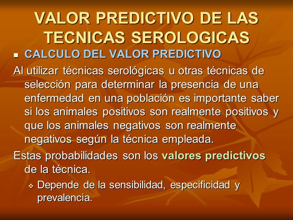 VALOR PREDICTIVO DE LAS TECNICAS SEROLOGICAS CALCULO DEL VALOR PREDICTIVO CALCULO DEL VALOR PREDICTIVO Al utilizar técnicas serológicas u otras técnic