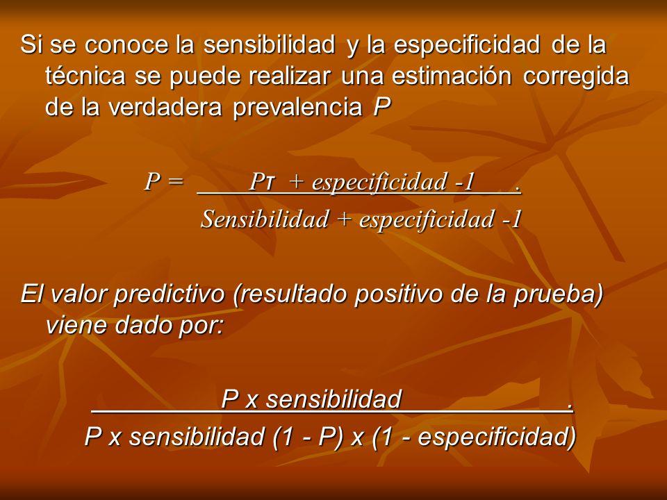 Si se conoce la sensibilidad y la especificidad de la técnica se puede realizar una estimación corregida de la verdadera prevalencia P P = P τ + espec