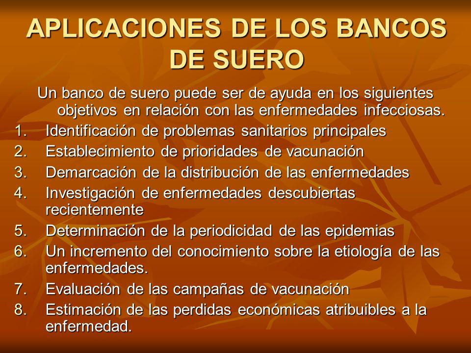 APLICACIONES DE LOS BANCOS DE SUERO Un banco de suero puede ser de ayuda en los siguientes objetivos en relación con las enfermedades infecciosas. 1.I