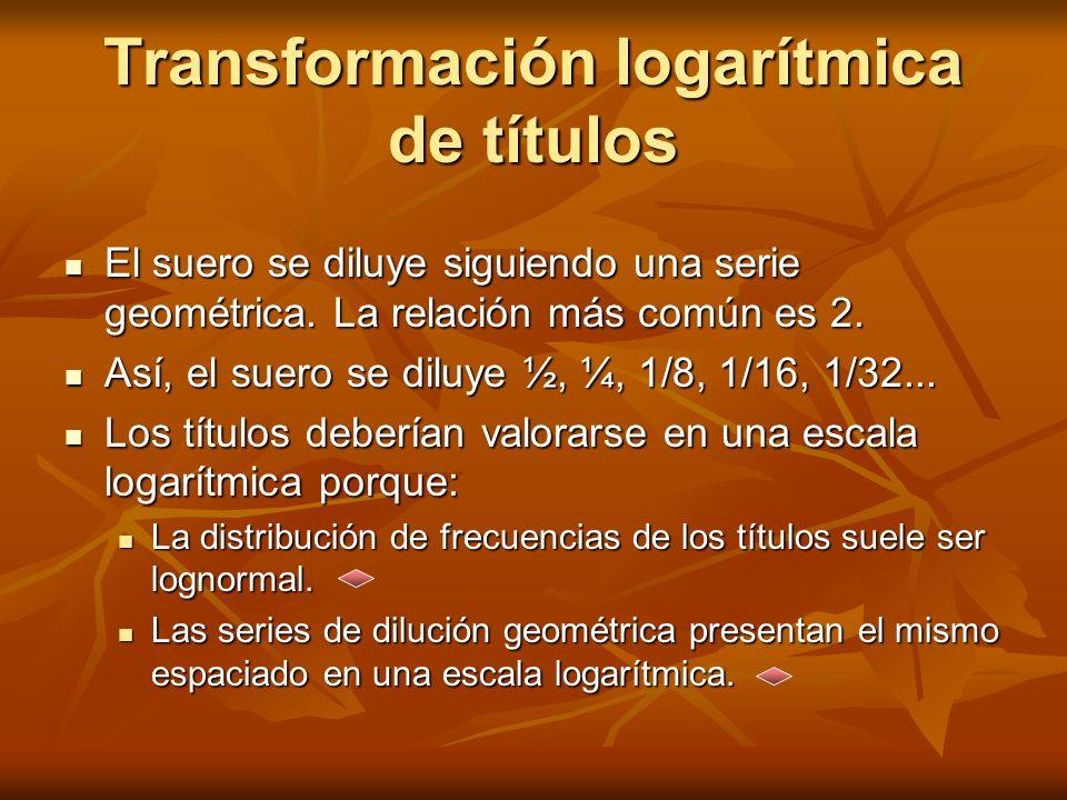 Transformación logarítmica de títulos El suero se diluye siguiendo una serie geométrica. La relación más común es 2. El suero se diluye siguiendo una