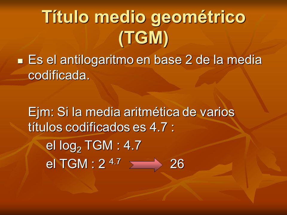 Título medio geométrico (TGM) Es el antilogaritmo en base 2 de la media codificada. Es el antilogaritmo en base 2 de la media codificada. Ejm: Si la m