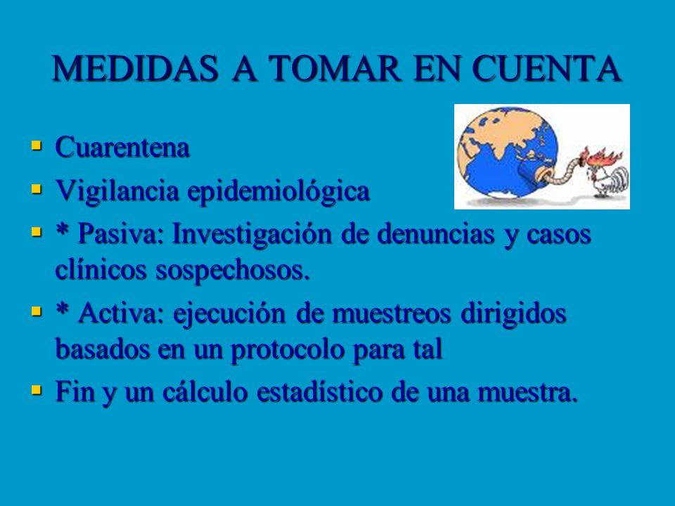 MEDIDAS A TOMAR EN CUENTA Cuarentena Cuarentena Vigilancia epidemiológica Vigilancia epidemiológica * Pasiva: Investigación de denuncias y casos clíni
