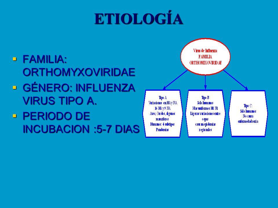 ETIOLOGÍA FAMILIA: ORTHOMYXOVIRIDAE FAMILIA: ORTHOMYXOVIRIDAE GÉNERO: INFLUENZA VIRUS TIPO A. GÉNERO: INFLUENZA VIRUS TIPO A. PERIODO DE INCUBACION :5