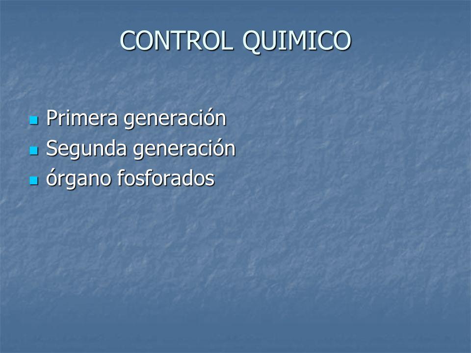 CONTROL QUIMICO Primera generación Primera generación Segunda generación Segunda generación órgano fosforados órgano fosforados