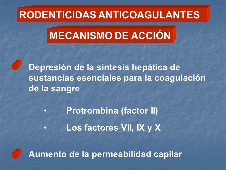 Depresión de la síntesis hepática de sustancias esenciales para la coagulación de la sangre Protrombina (factor II) Los factores VII, IX y X Aumento d
