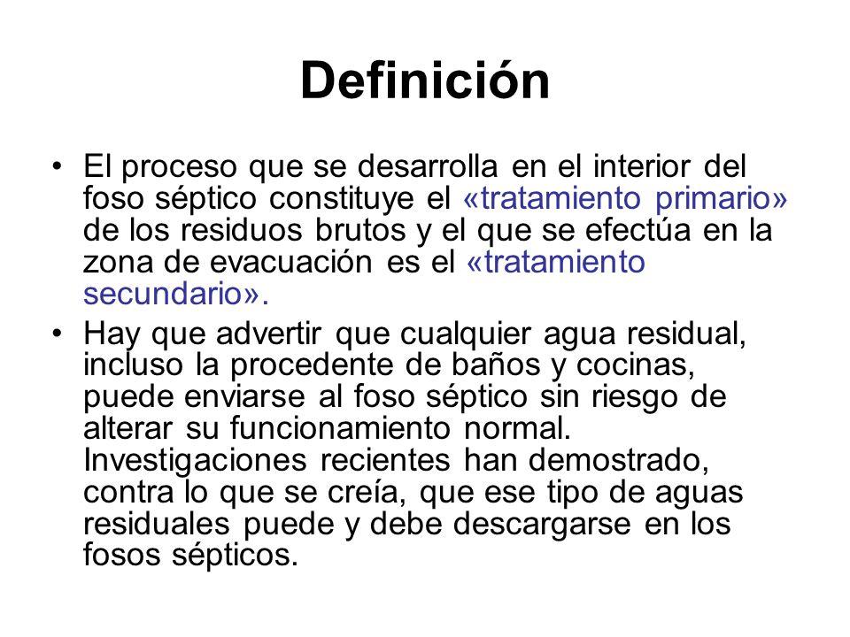 Definición El proceso que se desarrolla en el interior del foso séptico constituye el «tratamiento primario» de los residuos brutos y el que se efectú