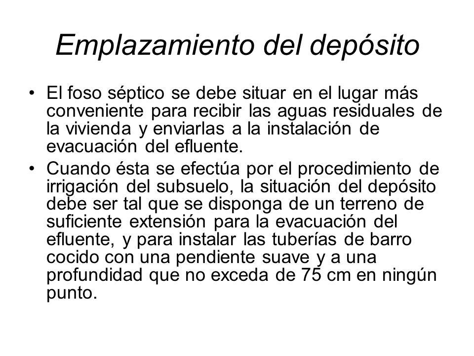 Emplazamiento del depósito El foso séptico se debe situar en el lugar más conveniente para recibir las aguas residuales de la vivienda y enviarlas a l