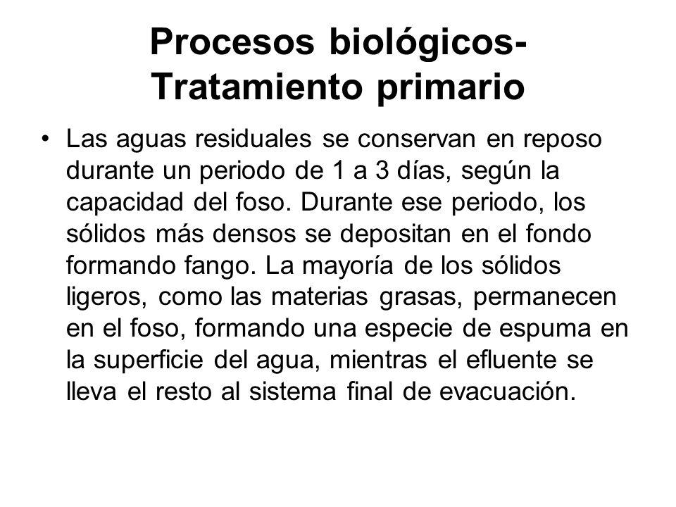 Procesos biológicos- Tratamiento primario Las aguas residuales se conservan en reposo durante un periodo de 1 a 3 días, según la capacidad del foso. D