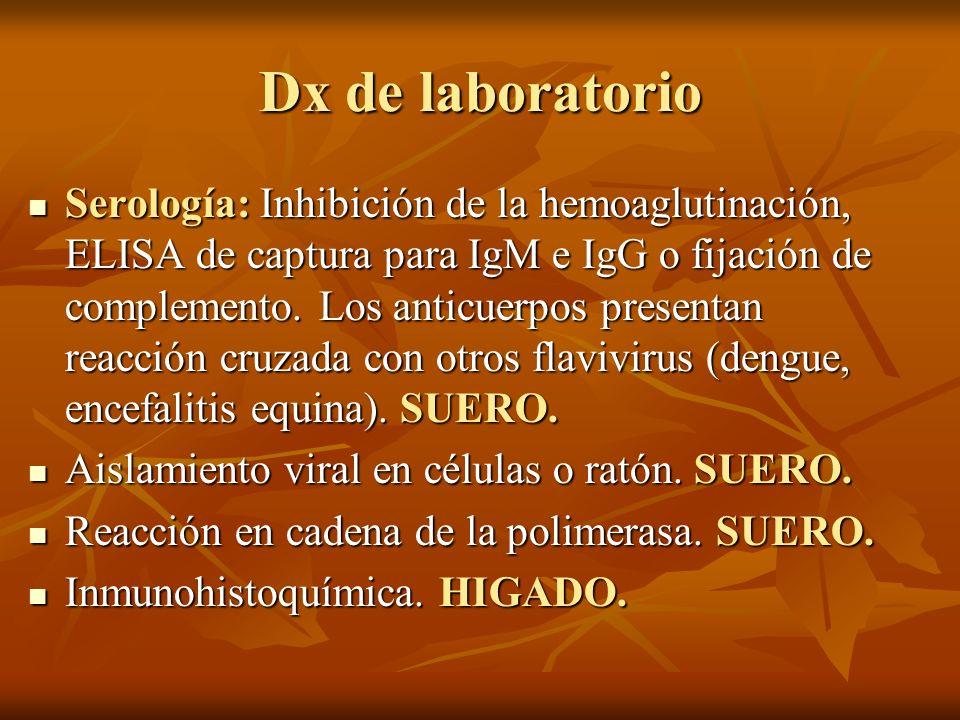 Dx de laboratorio Serología: Inhibición de la hemoaglutinación, ELISA de captura para IgM e IgG o fijación de complemento. Los anticuerpos presentan r