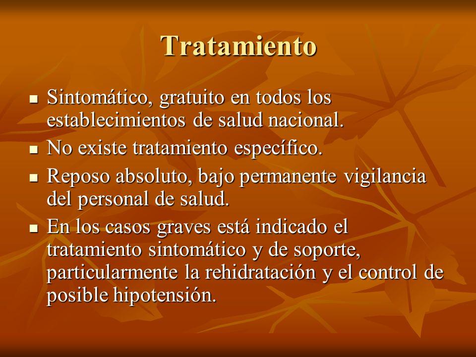 Tratamiento Sintomático, gratuito en todos los establecimientos de salud nacional. Sintomático, gratuito en todos los establecimientos de salud nacion