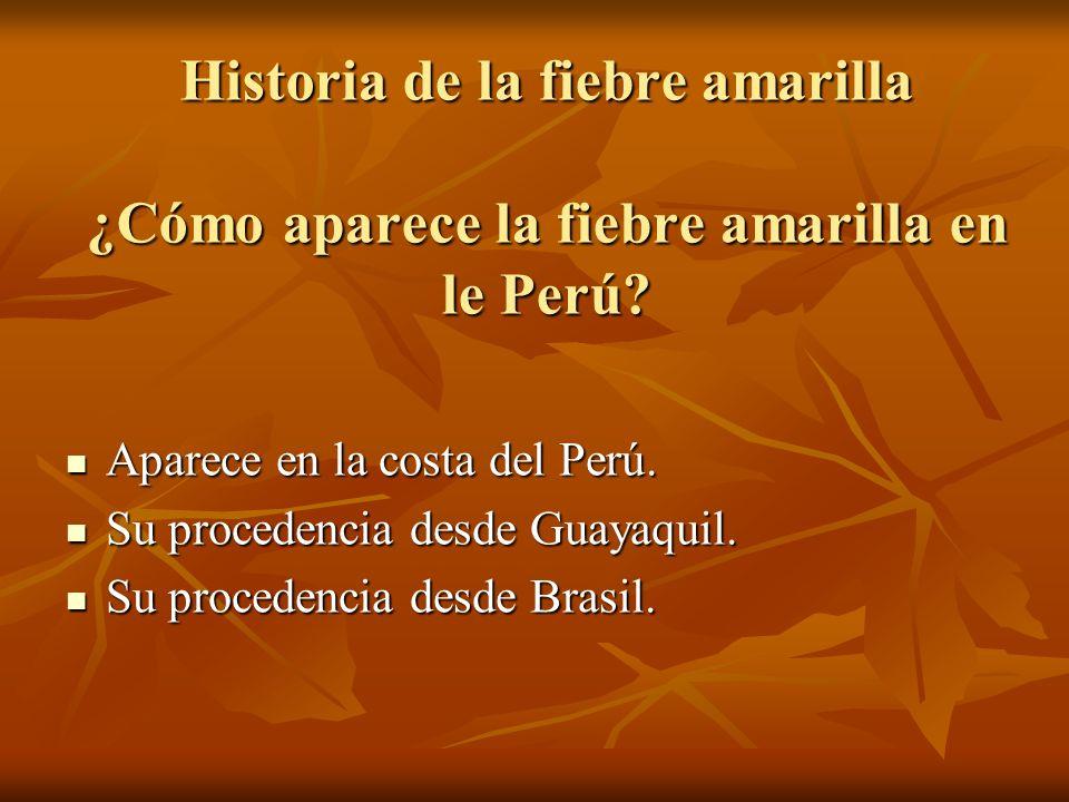 Historia de la fiebre amarilla ¿Cómo aparece la fiebre amarilla en le Perú? Aparece en la costa del Perú. Aparece en la costa del Perú. Su procedencia
