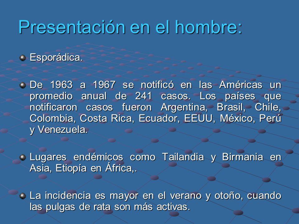 Presentación en el hombre: Esporádica. De 1963 a 1967 se notificó en las Américas un promedio anual de 241 casos. Los países que notificaron casos fue