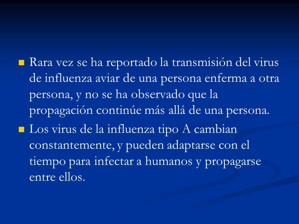 Rara vez se ha reportado la transmisión del virus de influenza aviar de una persona enferma a otra persona, y no se ha observado que la propagación co