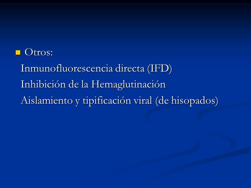 Otros: Otros: Inmunofluorescencia directa (IFD) Inmunofluorescencia directa (IFD) Inhibición de la Hemaglutinación Inhibición de la Hemaglutinación Ai