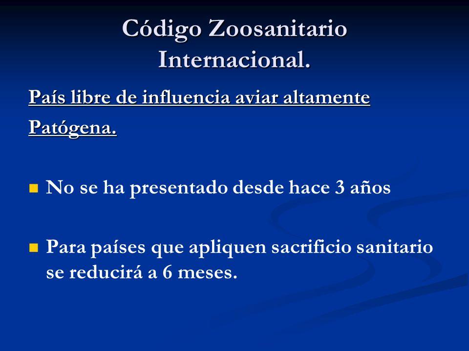 Código Zoosanitario Internacional. País libre de influencia aviar altamente Patógena. No se ha presentado desde hace 3 años Para países que apliquen s