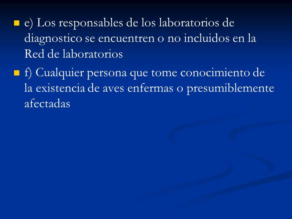 e) Los responsables de los laboratorios de diagnostico se encuentren o no incluidos en la Red de laboratorios f) Cualquier persona que tome conocimien