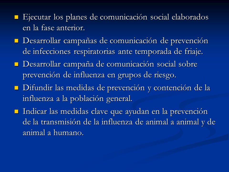 Ejecutar los planes de comunicación social elaborados en la fase anterior. Ejecutar los planes de comunicación social elaborados en la fase anterior.