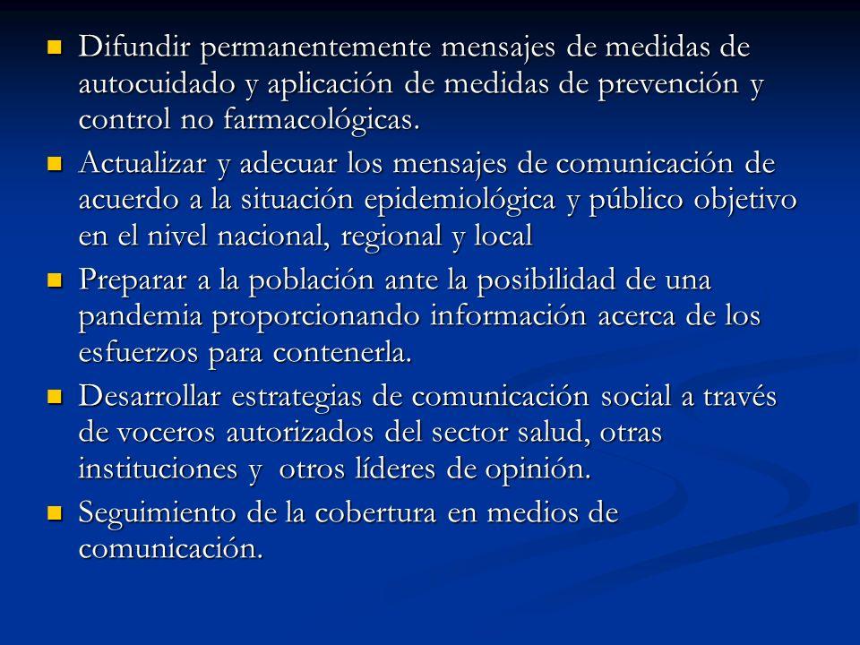 Difundir permanentemente mensajes de medidas de autocuidado y aplicación de medidas de prevención y control no farmacológicas. Difundir permanentement