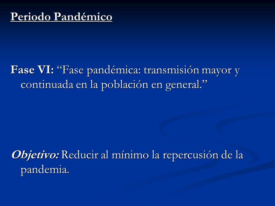 Periodo Pandémico Fase VI: Fase pandémica: transmisión mayor y continuada en la población en general. Objetivo: Reducir al mínimo la repercusión de la