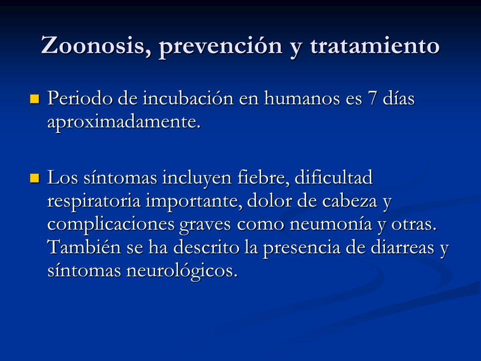 Zoonosis, prevención y tratamiento Periodo de incubación en humanos es 7 días aproximadamente. Periodo de incubación en humanos es 7 días aproximadame
