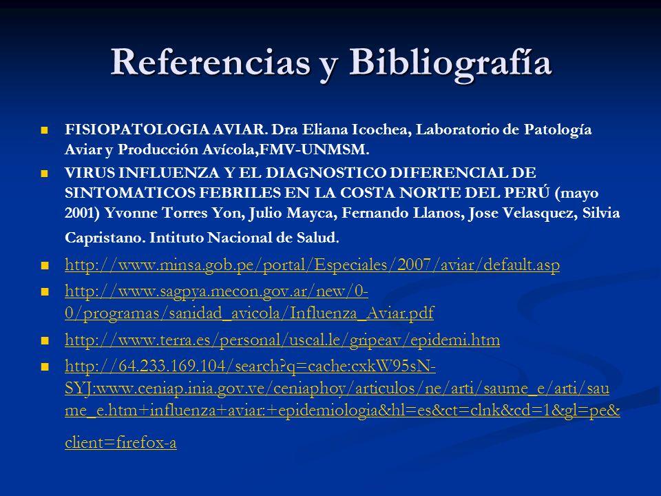 Referencias y Bibliografía FISIOPATOLOGIA AVIAR. Dra Eliana Icochea, Laboratorio de Patología Aviar y Producción Avícola,FMV-UNMSM. VIRUS INFLUENZA Y
