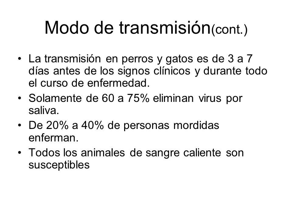 Modo de transmisión (cont.) La transmisión en perros y gatos es de 3 a 7 días antes de los signos clínicos y durante todo el curso de enfermedad. Sola