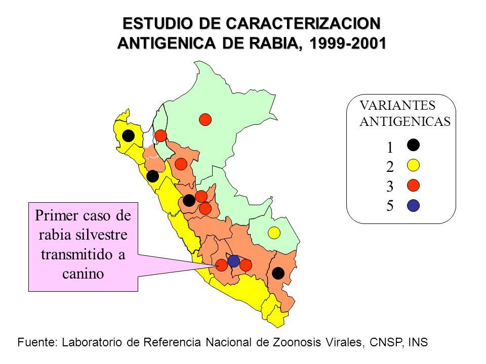 ESTUDIO DE CARACTERIZACION ANTIGENICA DE RABIA, 1999-2001 12351235 VARIANTES ANTIGENICAS Primer caso de rabia silvestre transmitido a canino Fuente: L
