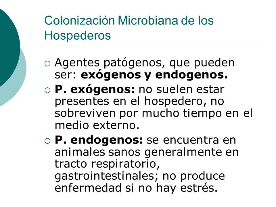 Colonización Microbiana de los Hospederos Agentes patógenos, que pueden ser: exógenos y endogenos. P. exógenos: no suelen estar presentes en el hosped