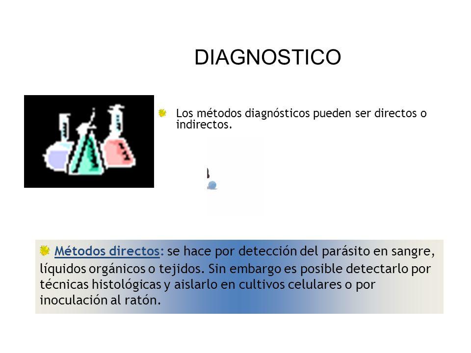 Métodos directos: se hace por detección del parásito en sangre, líquidos orgánicos o tejidos. Sin embargo es posible detectarlo por técnicas histológi
