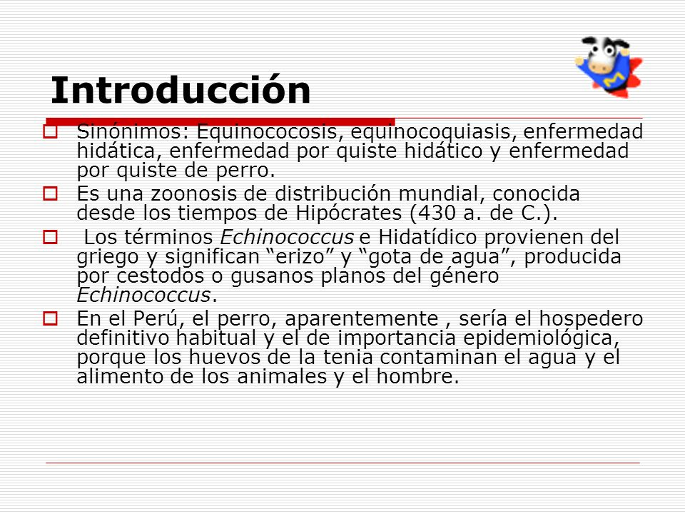 Introducción Sinónimos: Equinococosis, equinocoquiasis, enfermedad hidática, enfermedad por quiste hidático y enfermedad por quiste de perro. Es una z