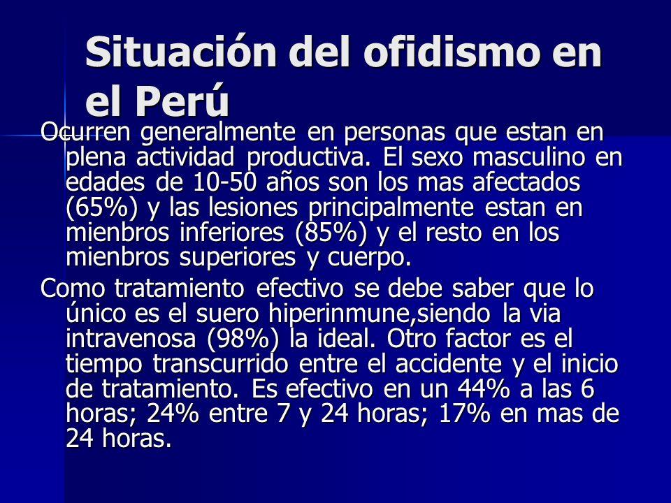 Situación del ofidismo en el Perú Ocurren generalmente en personas que estan en plena actividad productiva. El sexo masculino en edades de 10-50 años