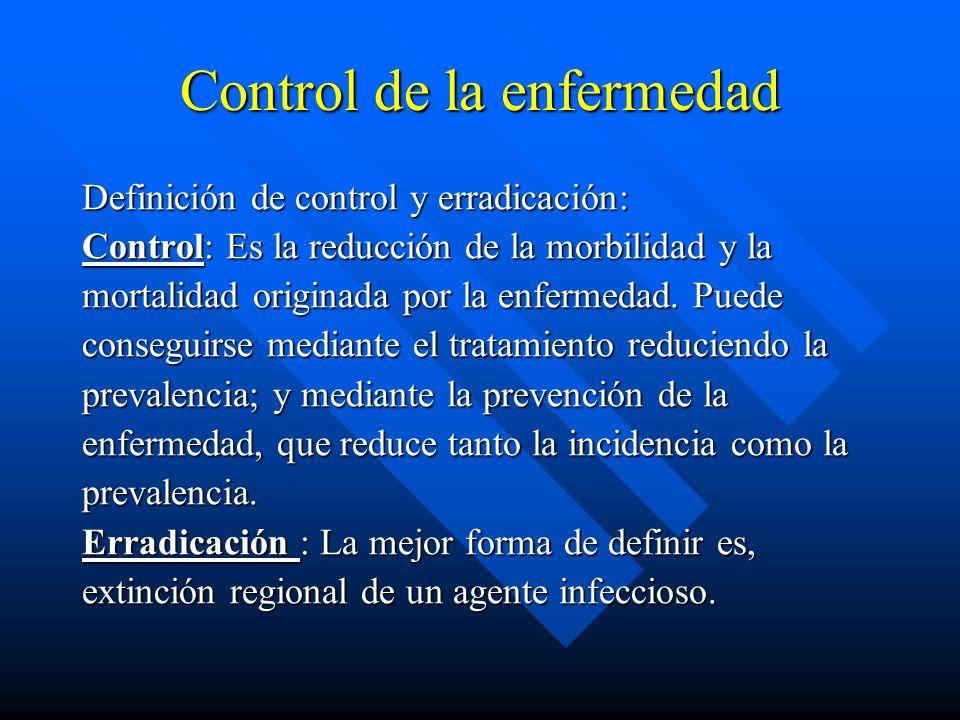 Control de la enfermedad Definición de control y erradicación: Control: Es la reducción de la morbilidad y la mortalidad originada por la enfermedad.