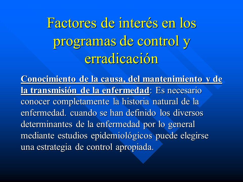 Factores de interés en los programas de control y erradicación Conocimiento de la causa, del mantenimiento y de la transmisión de la enfermedad: Es ne