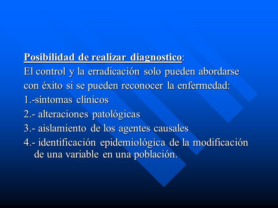 Posibilidad de realizar diagnostico: El control y la erradicación solo pueden abordarse con éxito si se pueden reconocer la enfermedad: 1.-síntomas cl