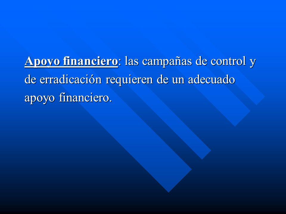 Apoyo financiero: las campañas de control y de erradicación requieren de un adecuado apoyo financiero.