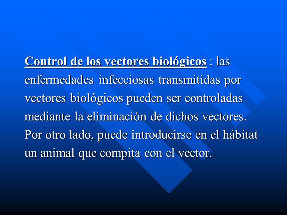 Control de los vectores biológicos : las enfermedades infecciosas transmitidas por vectores biológicos pueden ser controladas mediante la eliminación