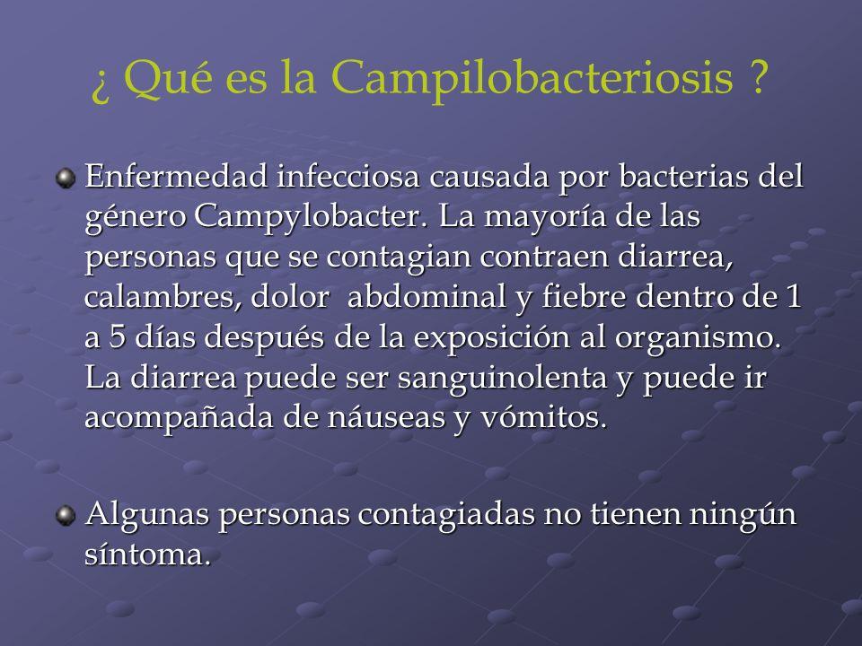 ¿ Qué es la Campilobacteriosis ? Enfermedad infecciosa causada por bacterias del género Campylobacter. La mayoría de las personas que se contagian con