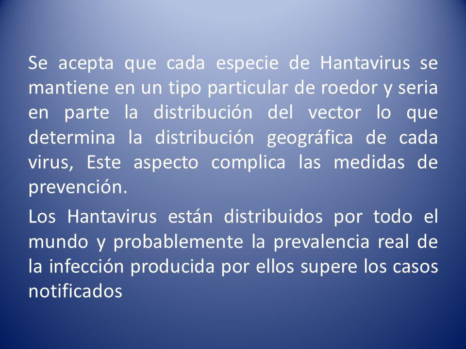 Se acepta que cada especie de Hantavirus se mantiene en un tipo particular de roedor y seria en parte la distribución del vector lo que determina la d