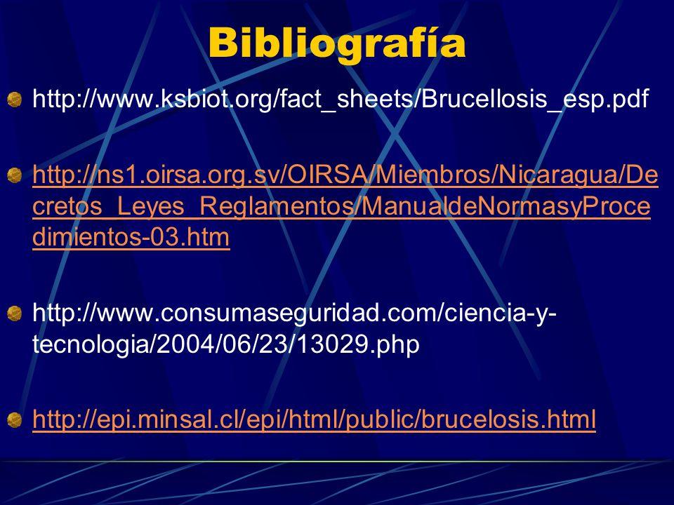 Bibliografía http://www.ksbiot.org/fact_sheets/Brucellosis_esp.pdf http://ns1.oirsa.org.sv/OIRSA/Miembros/Nicaragua/De cretos_Leyes_Reglamentos/Manual