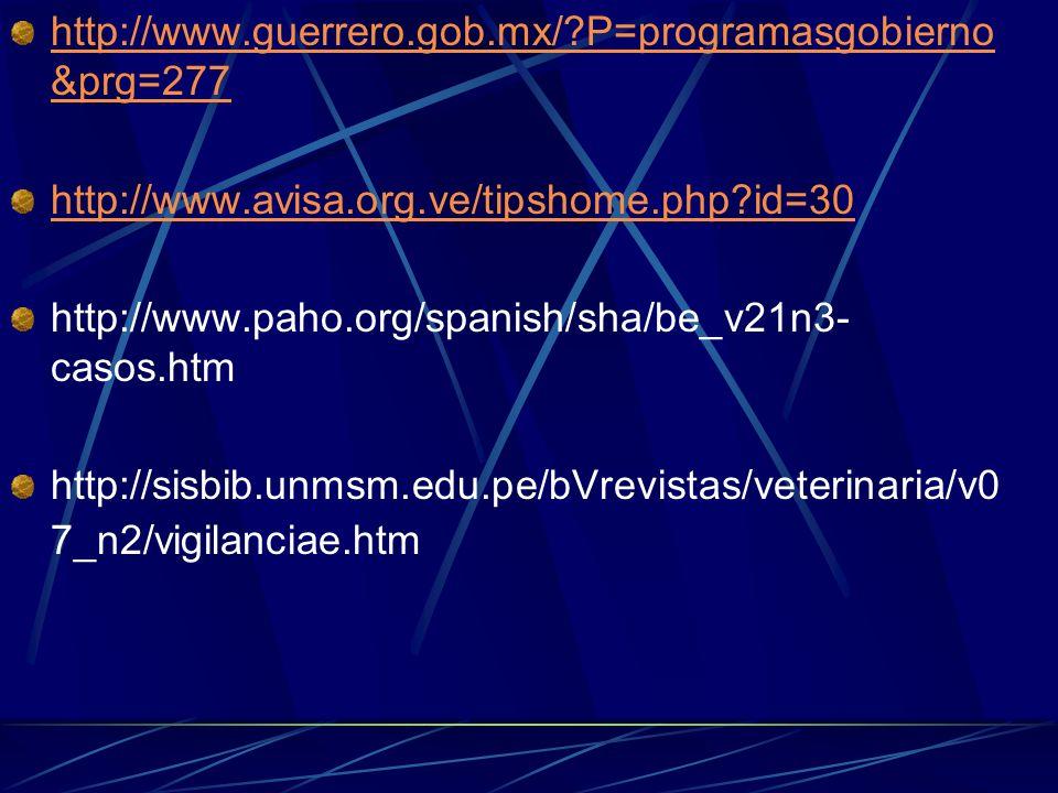 http://www.guerrero.gob.mx/?P=programasgobierno &prg=277 http://www.avisa.org.ve/tipshome.php?id=30 http://www.paho.org/spanish/sha/be_v21n3- casos.ht