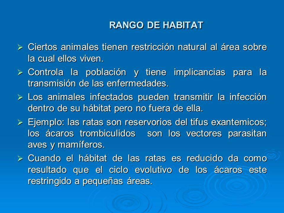 RANGO DE HABITAT Ciertos animales tienen restricción natural al área sobre la cual ellos viven. Ciertos animales tienen restricción natural al área so