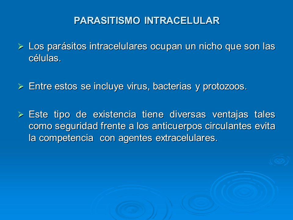 PARASITISMO INTRACELULAR Los parásitos intracelulares ocupan un nicho que son las células. Los parásitos intracelulares ocupan un nicho que son las cé