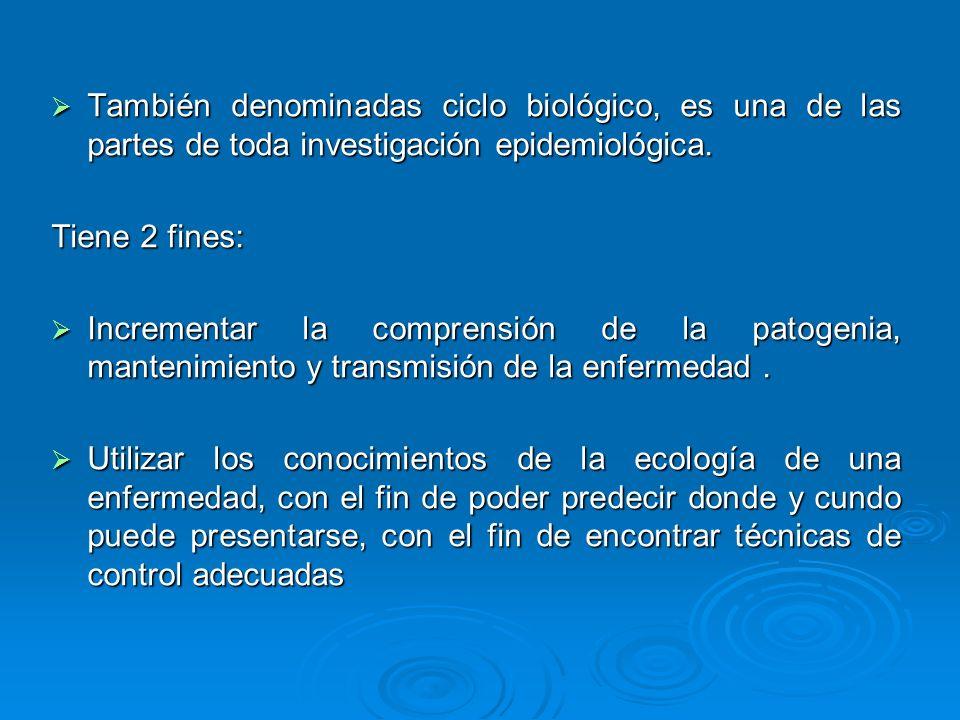 También denominadas ciclo biológico, es una de las partes de toda investigación epidemiológica. También denominadas ciclo biológico, es una de las par