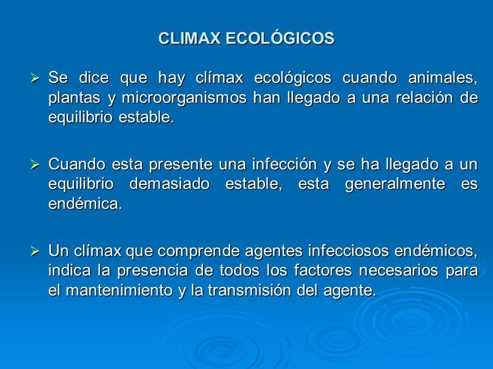 CLIMAX ECOLÓGICOS Se dice que hay clímax ecológicos cuando animales, plantas y microorganismos han llegado a una relación de equilibrio estable. Se di