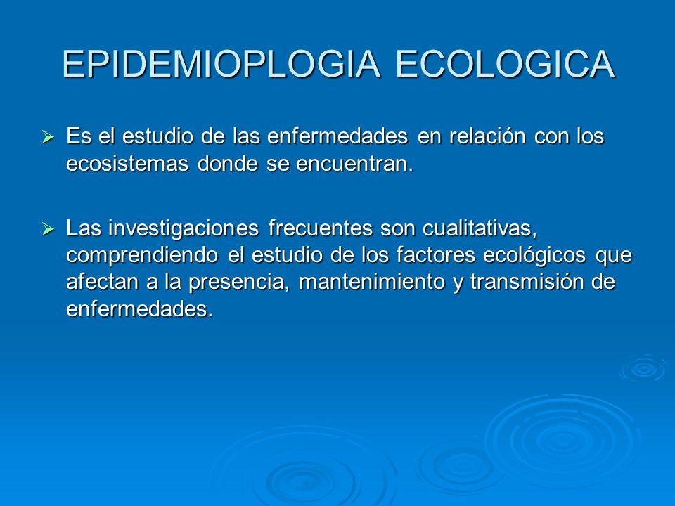 EPIDEMIOPLOGIA ECOLOGICA Es el estudio de las enfermedades en relación con los ecosistemas donde se encuentran. Es el estudio de las enfermedades en r