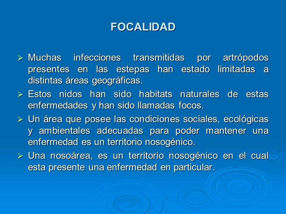 FOCALIDAD Muchas infecciones transmitidas por artrópodos presentes en las estepas han estado limitadas a distintas áreas geográficas. Muchas infeccion