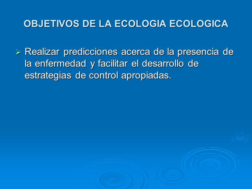 OBJETIVOS DE LA ECOLOGIA ECOLOGICA Realizar predicciones acerca de la presencia de la enfermedad y facilitar el desarrollo de estrategias de control a