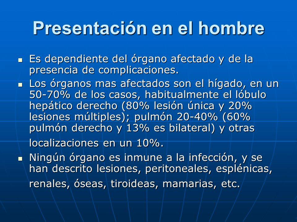 Presentación en el hombre Es dependiente del órgano afectado y de la presencia de complicaciones. Es dependiente del órgano afectado y de la presencia