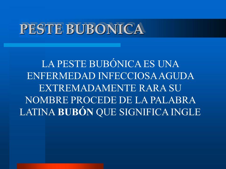 PESTE BUBONICA LA PESTE BUBÓNICA ES UNA ENFERMEDAD INFECCIOSA AGUDA EXTREMADAMENTE RARA SU NOMBRE PROCEDE DE LA PALABRA LATINA BUBÓN QUE SIGNIFICA ING