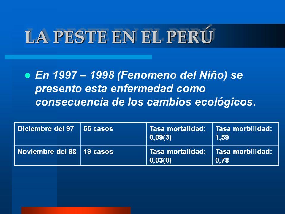 En 1997 – 1998 (Fenomeno del Niño) se presento esta enfermedad como consecuencia de los cambios ecológicos. Diciembre del 9755 casosTasa mortalidad: 0